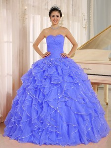 Ruffles And Beaded For Blue Quinceanera Dress Custom Made
