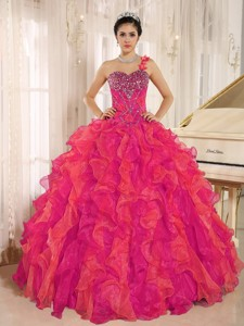 Custom Made Red One Shoulder Beaded Decorate Ruffles Quinceanera Dress In Spring