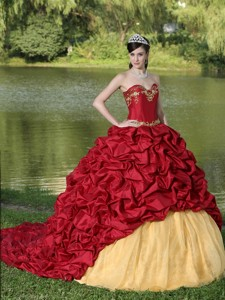 Appliques And Pick-ups Wine Red Brush Train Exquisite Style Quinceanera Dress
