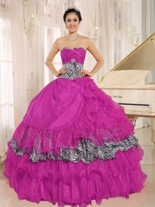 Wholesale Hot Pink Sweetheart Ruffles Quinceanera Dress With Zebra and Beading
