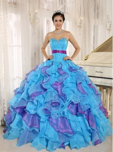 Stylish Multi-color Sweetheart Ruffles With Appliques Quinceanera Dresses