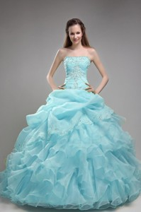 Baby Blue Ball Gown Strapless Floor-length Orangza Beading and Ruffles Quinceanera Dress