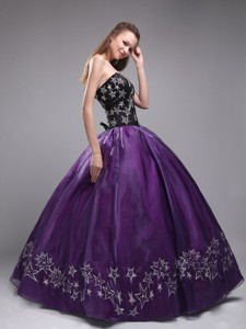 Eggplant Purple Ball Gown Sweetheart Floor-length Orangza Embroidery Quinceanera Dress
