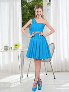 Affordable Short One Shoulder Bridesmaid Dress with Beading