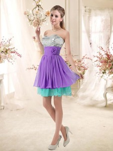 Low Price Sweetheart Short Bridesmaid Dress With Sequins And Belt