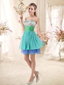 Sweet Short Multi Color Bridesmaid Dress With Sequins