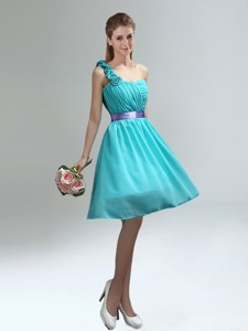 Unique One Shoulder Ruches Teal Bridesmaid Dress With Belt