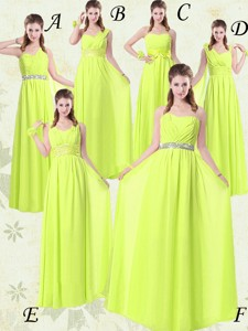 Pretty Empire Floor Length Belt Bridesmaid Dress In Yellow Green Spring