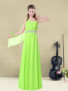Latest Floor Length One Shoulder Ruching Bridesmaid Dress For Summer