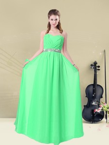 Summer Gorgeous Sweetheart Floor Length Bridesmaid Dress With Ruching And Belt