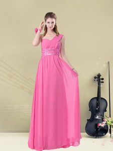 Sweet One Shoulder Ruching Bridesmaid Dress With Belt