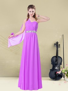 Low Price One Shoulder Ruching Bridesmaid Dress For Fall