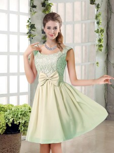Summer A Line Straps Lace Bridesmaid Dress With Bowknot