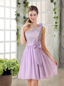 One Shoulder Lilac Bridesmaid Dress With Bowknot