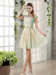 Spring A Line Square Bridesmaid Dress With Bowknot
