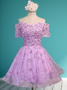 Classical Off the Shoulder Lilac Bridesmaid Dress with Appliques and Beading