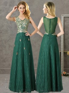 Luxurious V Neck Dark Green Bridesmaid Dress with Appliques and Beading