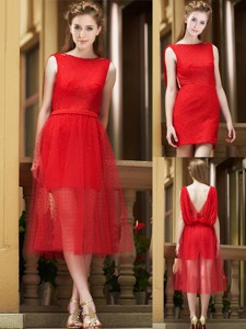 Exclusive Bateau Lace Tea Length Bridesmaid Dress in Red