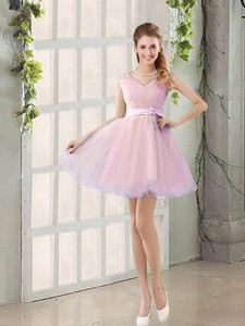 Perfect V Neck Strapless Short Bridesmaid Dress With Bowknot