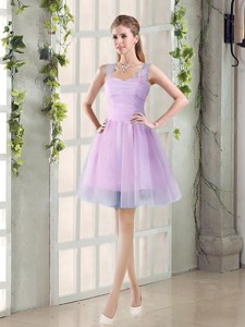 Summer A Line Straps Ruching Bridesmaid Dress With Hand Made Flowers