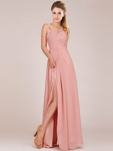 Modern Straps Peach Bridesmaid Dress with Ruching and High Slit