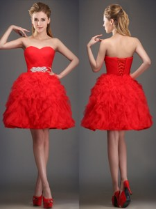 Perfect Really Puffy Red Bridesmaid Dress with Beading and Ruffles
