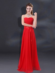 Ruching Empire Bridesmaid Dress With Belt
