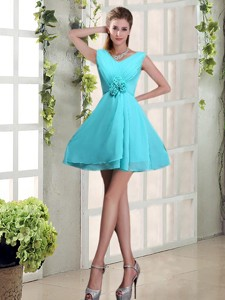Ruching V Neck A Line Bridesmaid Dress