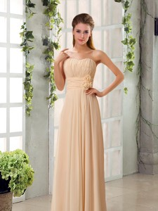 Champagne Ruching Chiffon Bridesmaid Dress With Sweetheart