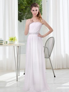 Simple Empire Ruching Bridesmaid Dress In White