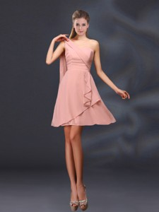 One Shoulder Ruching Chiffon Bridesmaid Dress In Peach
