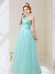 Classical Empire Lace Up Hand Made Flowers Bridesmaid Dress In Mint