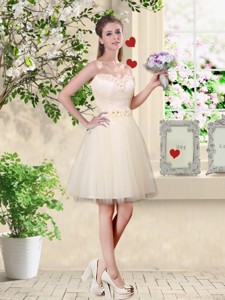 Popular A Line Champagne Bridesmaid Dress With Appliques And Belt