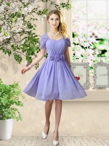 Elegant Hand Made Flowers Bridesmaid Dress With Short Sleeves