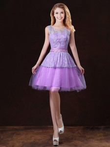 Luxurious Scoop Bridesmaid Dress With Appliques And Belt