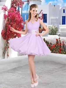 Pretty Mini Length Belt Chiffon Bridesmaid Dress With V Neck