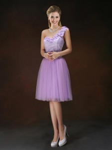 Fashionable One Shoulder Hand Made Flowers Bridesmaid Dress