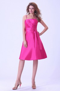 Hot Pink Bridemaid Dress With Sash and Ruching Spaghetti Straps Knee-length Taffeta