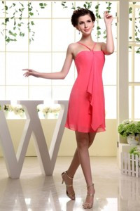 Coral Red Bridesmaid Dress With Straps Mini-length