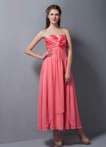 Pretty Watermelon Red Empire Strapless Hand Made Flower Bridesmaid Dress Ankle-length Chiffon and Ta