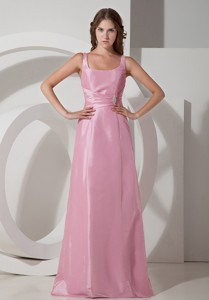 Beading Square Dress Style for Evening with Straps Rose Pink Ruch
