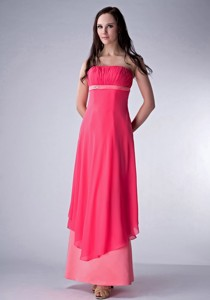 Hot Red and Watermenlon Column Strapless Bridesmaid Dress Chiffon and Satin Ruch Ankle-length