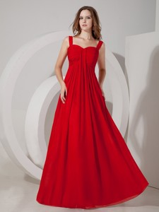 Inexpensive Red Empire Straps Bridesmaid Dress Chiffon Ruch Floor-length