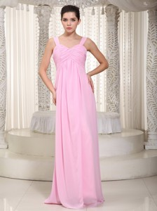 Baby Pink Empire Straps Floor-length Chiffon Ruched Bridesmaid Dress
