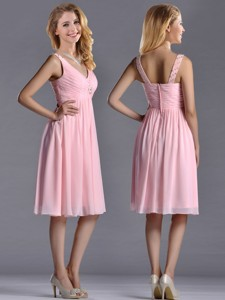 Lovely Empire V Neck Baby Pink Short Bridesmaid Dress With Beading