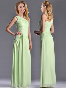 Pretty One Shoulder Side Zipper Yellow Green Bridesmaid Dress With Ruching