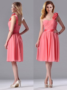 Popular Watermelon Bridesmaid Dress With Hand Made Flowers Decorated One Shoulder