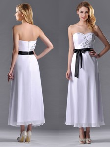 Popular Tea Length White Bridesmaid Dress With Appliques And Belt