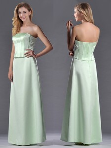 Discount Column Ruching Satin Bridesmaid Dress With Strapless