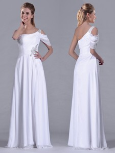 Fashionable Empire One Shoulder Beaded White Long White Bridesmaid Dress